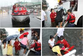Red Cross Chairman Gordon provides aid during a rescue operation.