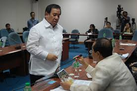 Blue Ribbon Committee Chairman Gordon interpolates businessman Jaime Paule in the midst of the P728 million fertilizer fund scam.